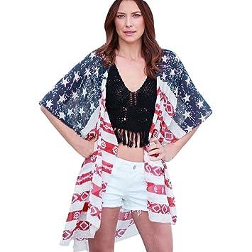 Amlaiworld Cárdigan de impresión de bandera americana de mujeres Chaqueta de gasa de mujer