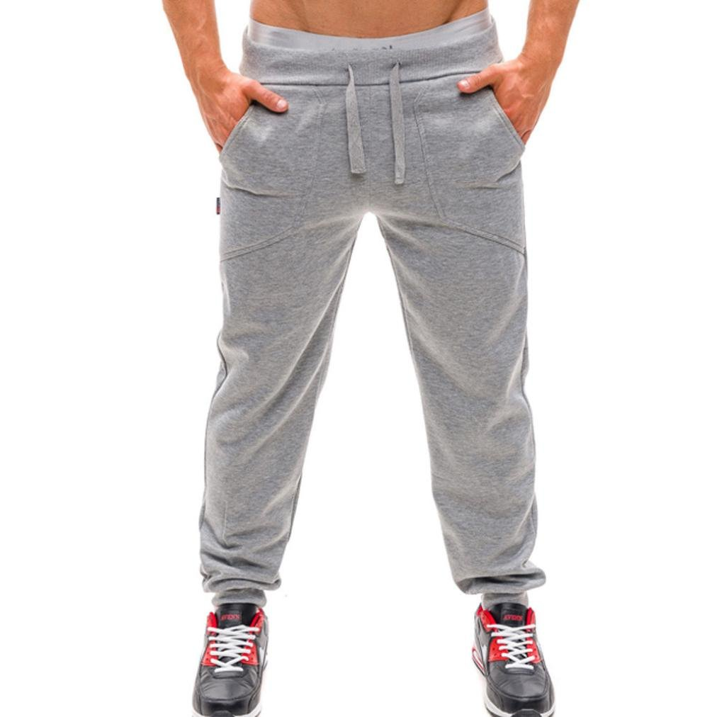 Men Autumn Pants,Sunfei Mens Long Trousers Tracksuit Fitness Workout Joggers Gym Sweatpants (XL, Light Gray)