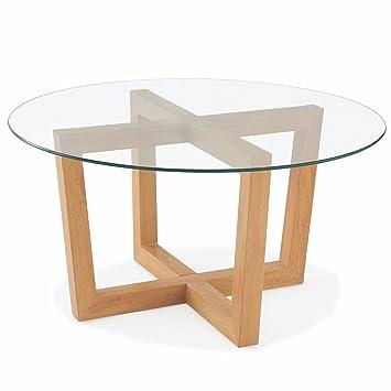 Table Basse Ronde Avec Plateau En Verre Trempé Et Pieds En