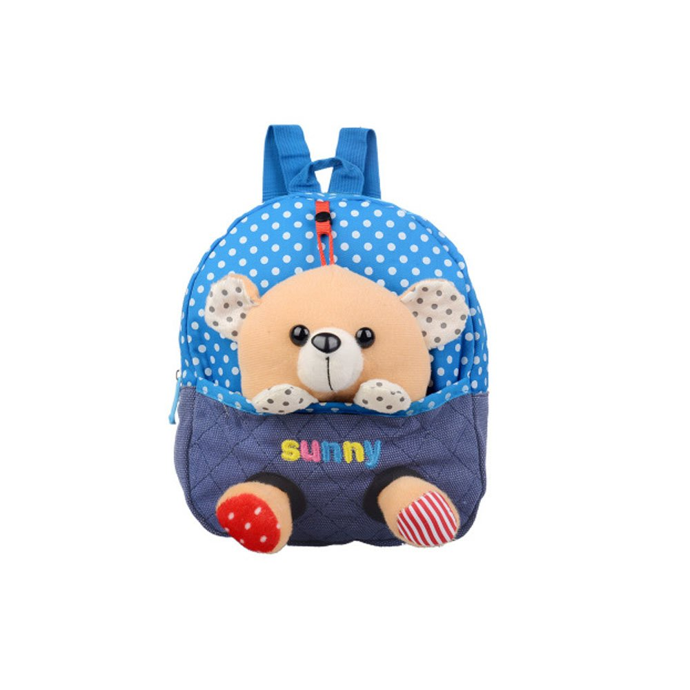Emotionlin Kindergarten 1-2-3 Year Old Baby Bags of Small Bags of Little Bear Doll Cute Backpack Cartoon Bag (Blue)