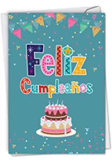 Beautiful Feliz Cumpleanos Greeting Card 475 X 6625 Inch