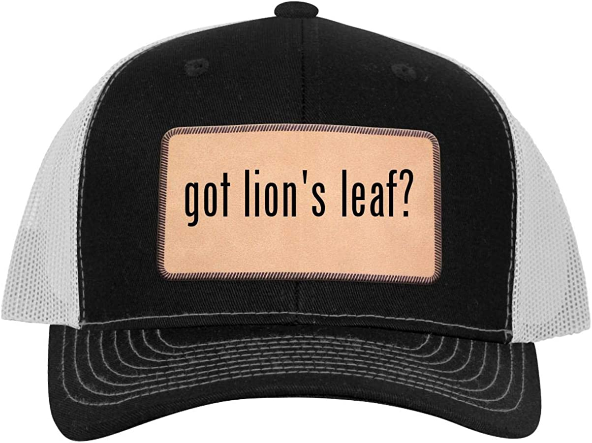 Leather Light Brown Patch Engraved Trucker Hat got Lions Leaf?