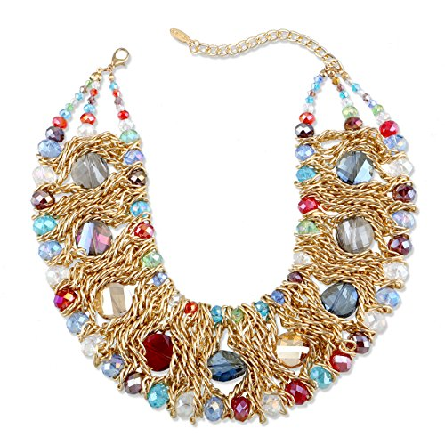 KAYMEN FASHION JEWELLERY Luxury Gold Plated Copper Chians and Crystal Stone Knit Statement Choker Necklaces for Women 4 Colors (Multicolor)