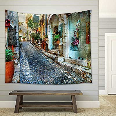 Amazing Print, Top Quality Design, Charming Streets of French Villages Fabric Wall