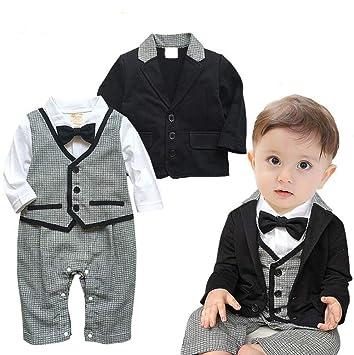 dc2518957a837 HMT  エイチエムティー ベビーフォーマル ロンパース ベビー服 ボウタイ長袖紳士スーツ 紳士服男の子