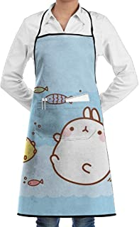 QIAOJIE Apron Kawaii Bunny Fish Faction Unisex Kitchen Cooking Garden Apron,Convenient Adjustable Sewing Pocket Waterproof Chef Aprons