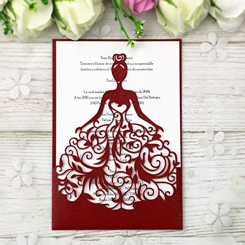 PONATIA 25PCS Lacer Cut Wedding Invitations Card Hollow Bride Invitations Cards for Wedding Bridal Invitation Engagement Invitations Cards (Red)