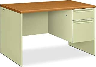 "product image for HON 38000 Series Right Pedestal Desk - Single Pedestal Small Office Desk, 48"" W, Harvest/Putty (H38251)"