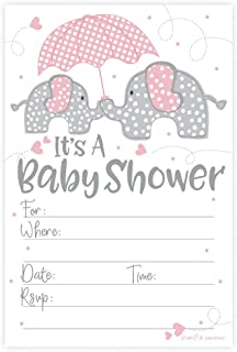 m&h Invites Pink Elephant Girl Baby Shower Invitations (20 Count) with Envelopes