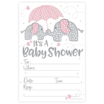 Pink Elephant Girl Baby Shower Invitations (20 Count) With Envelopes