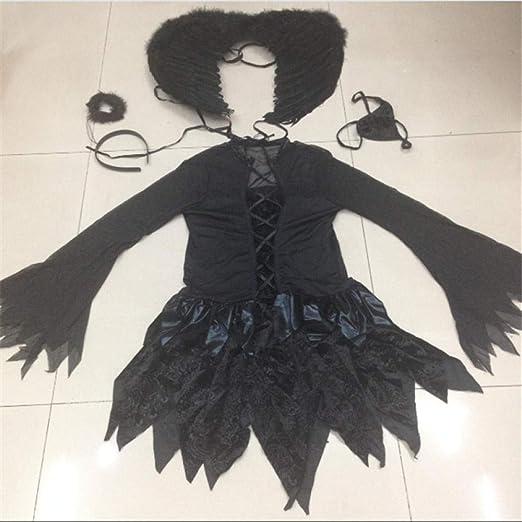 wnddm Disfraz de ángel Negro Sexy de Halloween Disfraz de ángel ...
