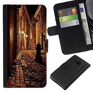 A-type (Medieval Street Night Lamp) Colorida Impresión Funda Cuero Monedero Caja Bolsa Cubierta Caja Piel Card Slots Para HTC One M7
