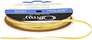 product image for Offray Woven Metallic Ribbon, 1/8-Inch Wide by 30-Yard Spool, Gold