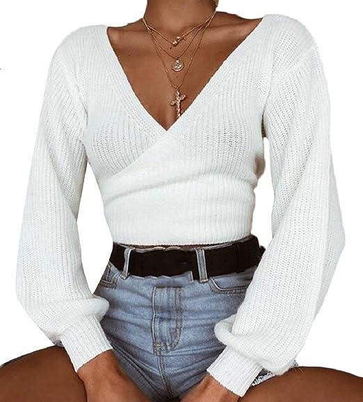 21ec98c5bb0 Xswsy XG Women Sexy V Neck Long Sleeve Wrap Cross Ribbed Knit Crop ...