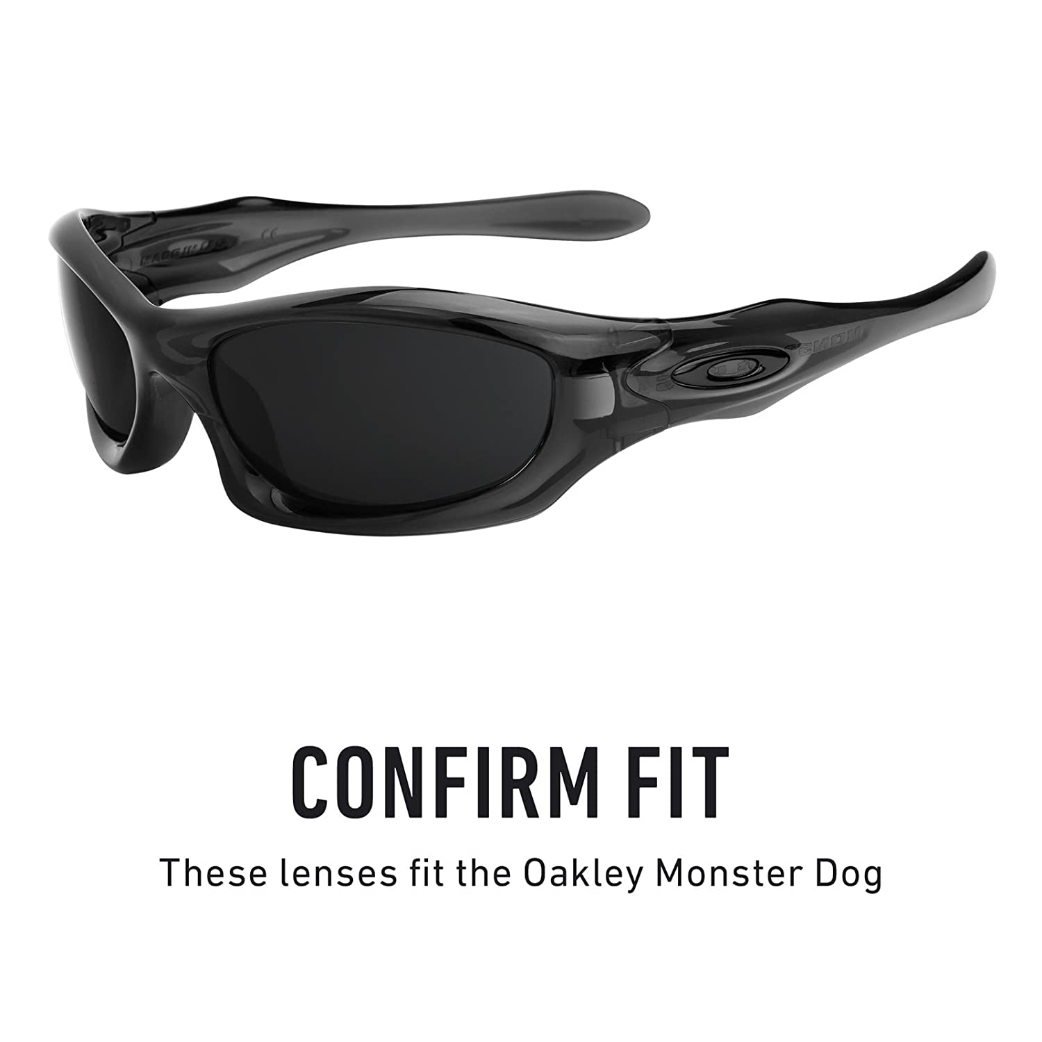 08a029797b Amazon.com  Revant Polarized Replacement Lenses for Oakley Monster Dog  Elite Black Chrome MirrorShield  Sports   Outdoors