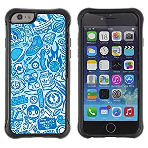 Hybrid Anti-Shock Defend Case for Apple iPhone 6 4.7 Inch / Cool Vintage Badass Pattern