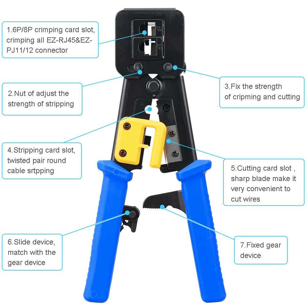 Silivn Rj45 Crimp Tool Network Pliers Tools 6p 8p Multi Function Wiring House Cat5 Vs Cat6 Along With Patent Us20120307983 Home Cable Cutter Piercing Crystal Head Crimping Dual Purpose Pliers1 Pack
