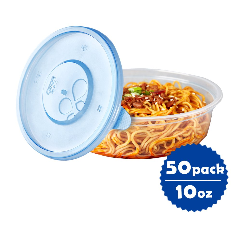 OTOR 10oz Plastic Food Storage Containers with Airtight Lids, 50 Sets, Round Size Φ4.7 in. Round Size Φ4.7 in.