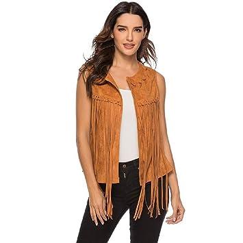 Amazon.com: Chaleco con flecos para mujer de los años 70, de ...