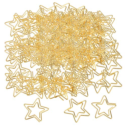 Baosity 120 Pieces Commonly Used Clips Star Paper Clips for Office Gold Color Paper Clips Cute Shapes Paperclips Funny Office Supplies Gifts 2.6x2.3CM