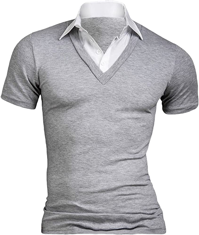 YUNY Mens Single-Breasted Turn Down Collar Plus Size Top Tees Polo 1 XL