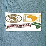 Nalahome Absorbent Towel Set of Grunge Rubber Stamps Made in Africa Quote Inside Authentic Labels Theme Soft Cotton Durable L27.5 x W13.8 inch