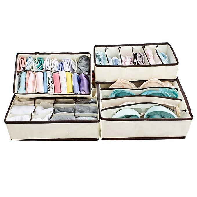 Ticent BH Unterw/äsche Schublade Organisator Zusammenklappbar Aufbewahrungsboxen Socken Kollektion Closet Trennwand 4er-Set