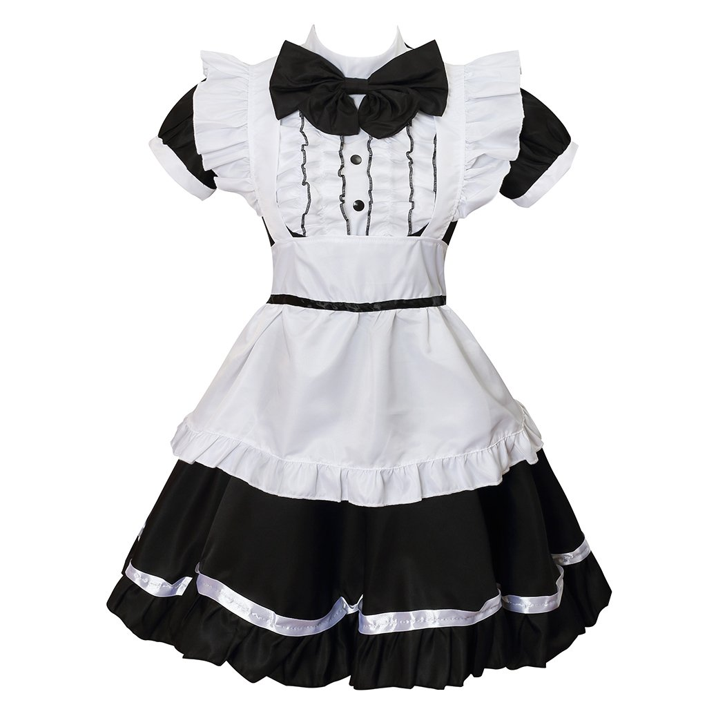 Colorful House Women's Cosplay Cat Ear French Apron Maid Fancy Dress Costume (US 8-10(XL), Black)