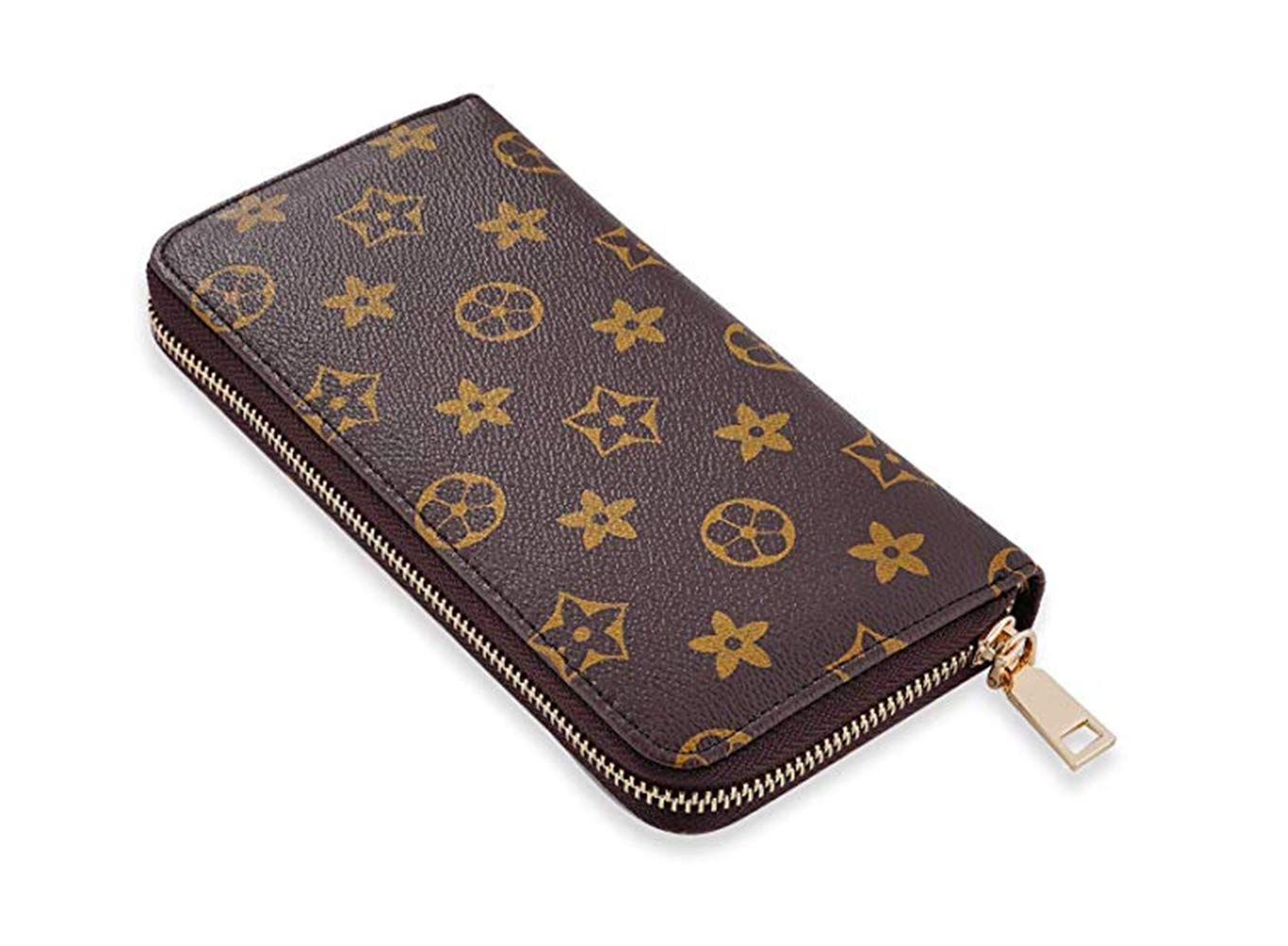 Wristlet Wallets for Womens Big Long Zipper Around Clutch RFID Blocking with Card Holder Organizer - PU Vegan Leather (Flower Brown)