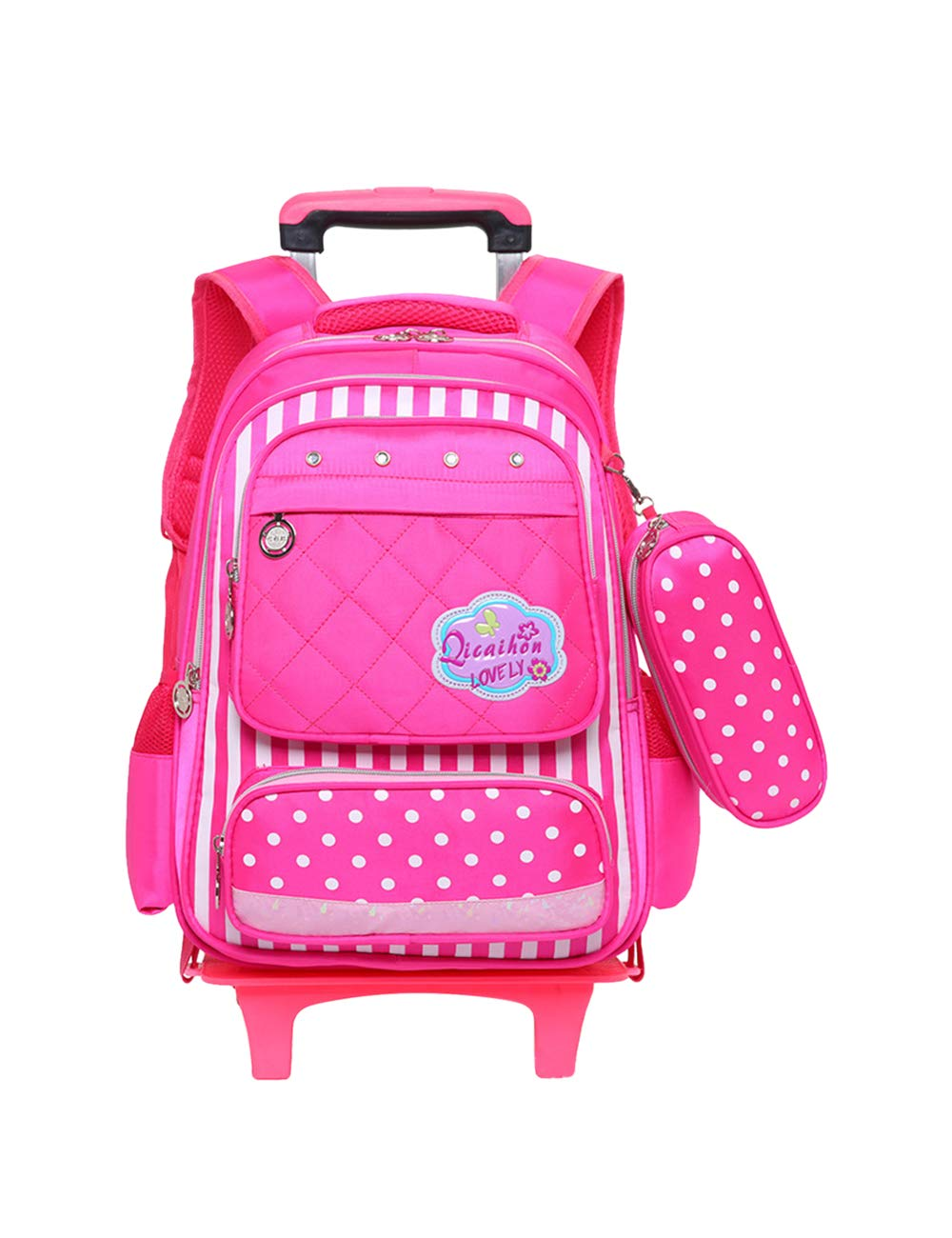 pink Red One size Trolley Backpack School Bags Laptop Bag  Zhhlaixing Six Wheels Rolling Backpack Nylon Kids School Bag Waterproof Hiking Casual for Boys Girls