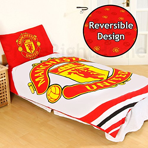 Manchester United 'pulse' Reversible Single Duvet Quilt Cover Set - Manchester Bedroom Furniture