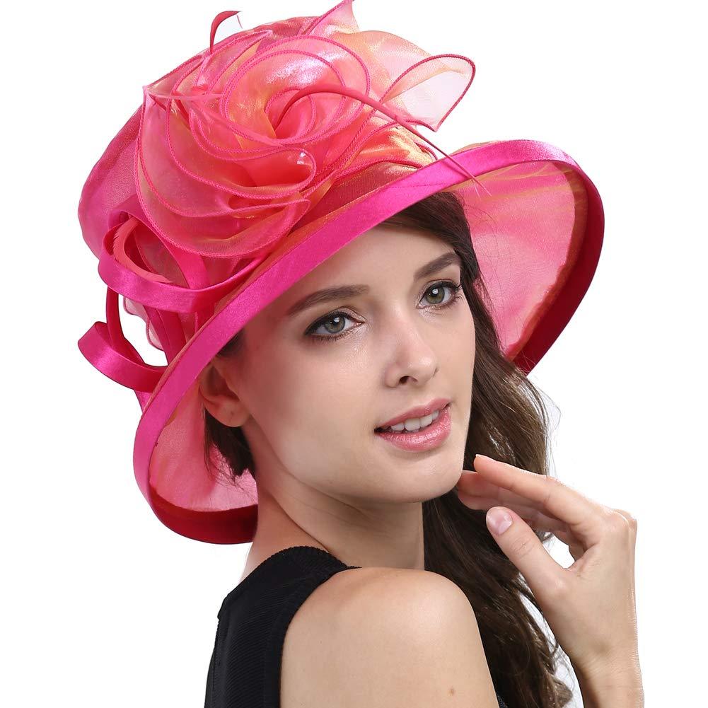 b2e466a6 Original One Women's Kentucky Derby Tea Part Dress Church Fascinators Fancy  Hats (Rose) M