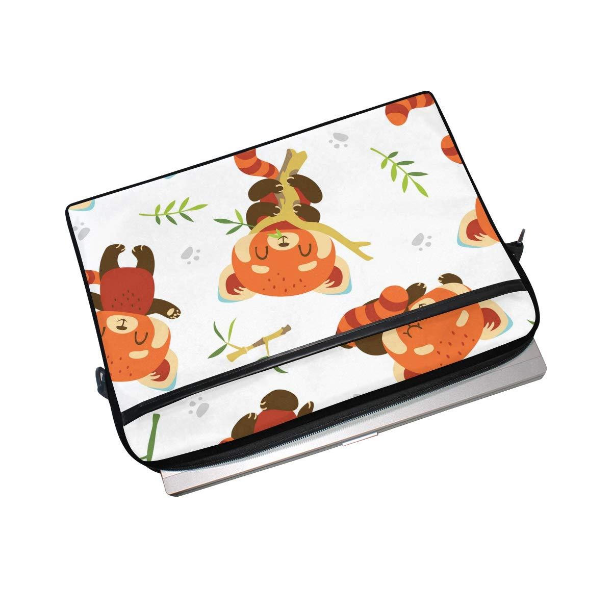 IMOBABY かわいいクマの食べるバンブーラップトップバッグ キャンバスメッセンジャーショルダーバッグブリーフケース 15~15.4インチ対応   B07KP6QVW1