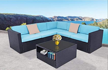 Awe Inspiring Oakmont Outdoor Patio Furniture 4Pcs Conversation Sectional Sofa With Premium Wicker Sturdy Frame Thick Sky Blue Cushions And Beige Pillows Glass Dailytribune Chair Design For Home Dailytribuneorg