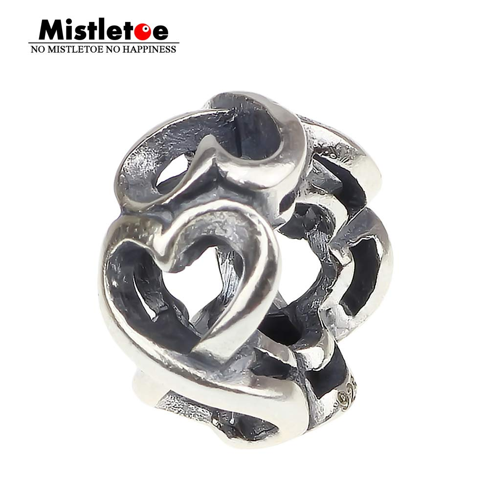 Pukido Authentic 925 Sterling Silver Openwork Heart to Hearts Galore Charm Bead Fit European Bracelet Jewelry
