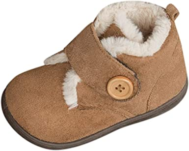 Vincent Baby Winter Boots Infant Newborn Girls Boys Outdoor Warm Solid Button Snow Boots Shoes First Walkers Hook/&Loop Shoes