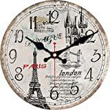 Cheap ShuaXin 16 Inch Silent Round Wall Clocks Living Room Decorative Vintage/Country / French/Eiffel Tower Style Wooden Clock (#E)