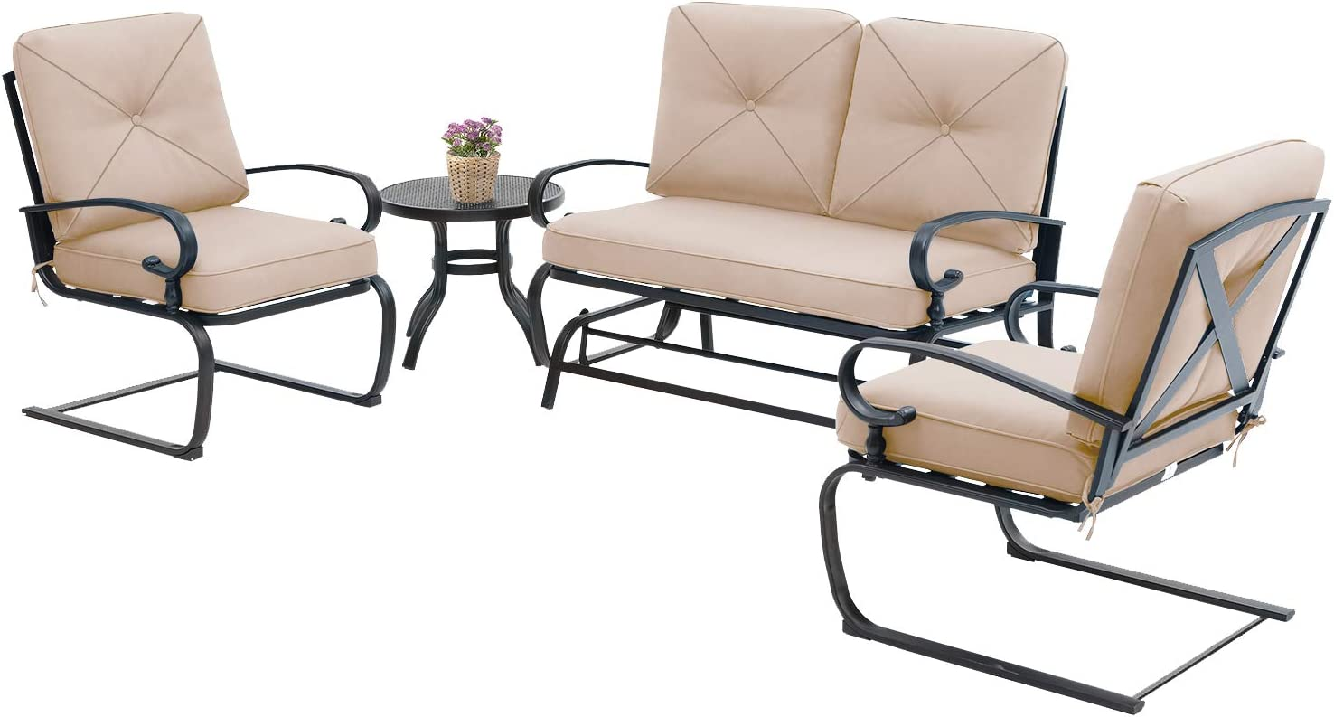 incbruce 4pcs outdoor patio furniture conversation sets loveseat bistro table 2 spring chair swing glider rocking patio bench and spring metal