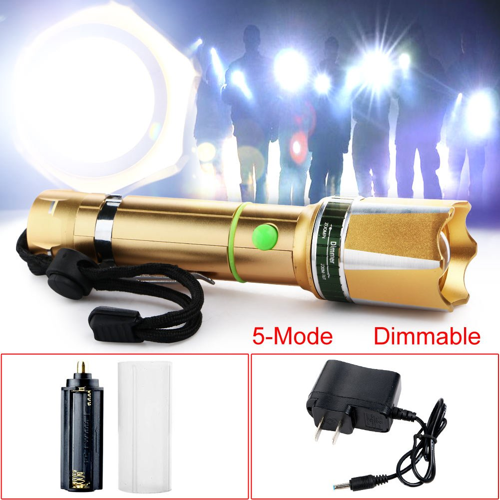 Zlimio Led Flashlight , NEW 3000 Lm T6 LED Zoomable Focus Flashlight Torch Gold with Charger for Camping Biking Home Emergency or Gift-Giving