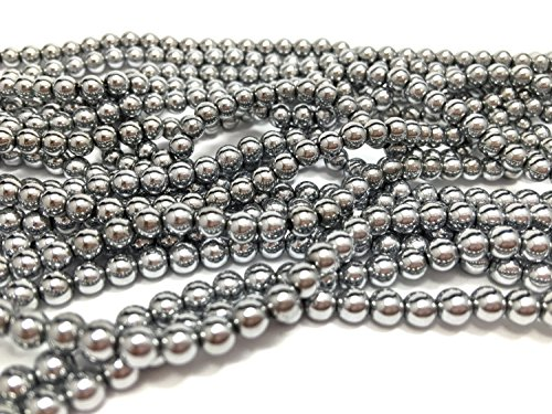 Hematite Round Earrings - jennysun2010 6mm Natural Non-Magnetic Hematite Gemstone Round Ball Beads 16'' Inches Metallic Silver 1 Strand for Bracelet Necklace Earrings Jewelry Making Crafts Design Healing