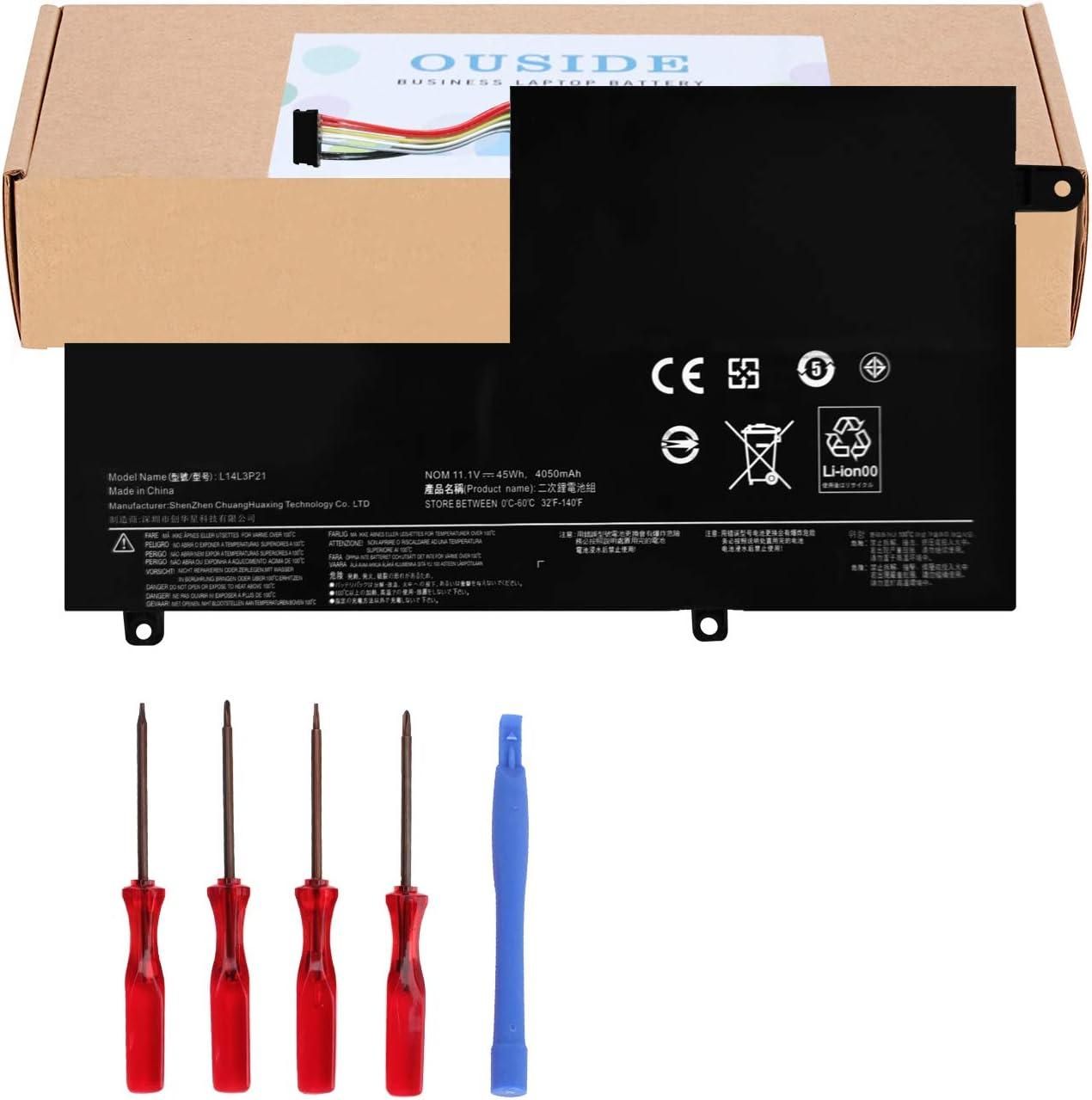 OUSIDE New L14L3P21/L14M3P21 Laptop Battery Compatible with Lenovo Flex 3 Flex 4 1470 1480 1570 1580 Edge 2-1580 Ideapad 300S 310S Replacement Series L14M2P21 L14L2P21 L15L3PB0(Type C) [11.4V 45Wh]