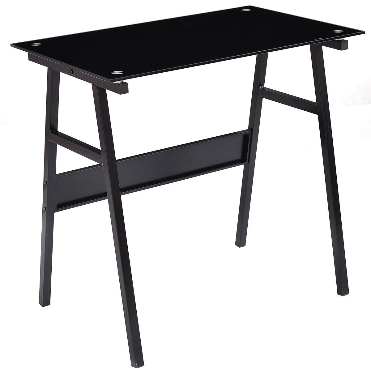 Black Glass Top Metal Leg Study Computer Desk - Black