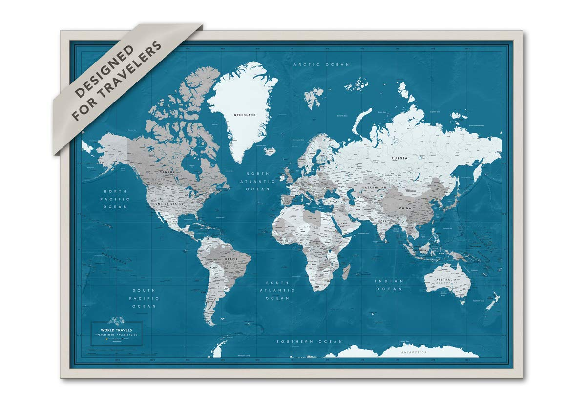 Framed World Map With Push Pins Amazon.com: Push Pin Wall Map Framed | Personalized World Map with