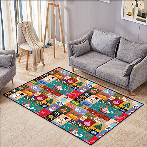 Interior Door Rug Bathroom Rug Slip Christmas Decorations Collection Modern Design Xmas Theme with Funny Christmas Winter Patterns Kids Children Decor Multi Easy to Clean Carpet W5'9 xL4'9