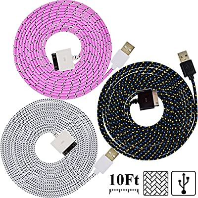 UNISAME [Pack of 3Pcs] 10Ft 3Meter Rugged Nylon Braided Micro USB Cable Charging & Sync Data Cable Charger Cord for Samsung Galaxy S6 S6 Edge S4 S3 S2 Note 2/3/4 Mega, Galaxy Tab, Galaxy A3 A5 A7 E7, HTC One, Nexus 3/4/5/6/7/9/10, LG G3 G4, Moto G X, Noki