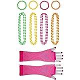 NUOBESTY 80s Party Neon Accessories Beaded Plastic Creative Fishnet Eye Guantes llamativos Collar Pulsera para Grils…
