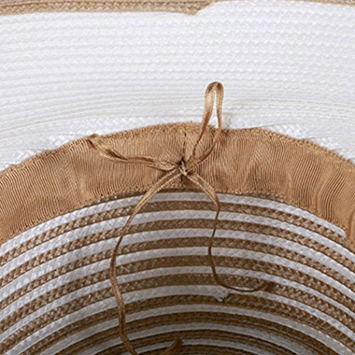 Dovaly Womens Fascinator Kentucky Derby Large Brim White Gold Striped Bowknot Sunhat by Dovaly (Image #4)