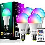 POTIKA Lâmpada Inteligente De 4-Pack Com Controle Remoto, Trabalhar Com O Alexa, E27 10W (190V-240V) Lâmpada LED Corlorful Li