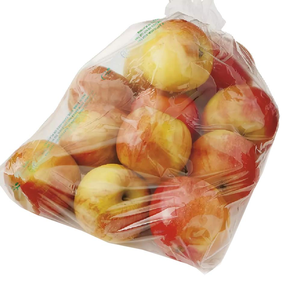 APQ Pack of 765 Clear Plastic Bags 12 x 17 with Warning. 8 Micron Thick. Polyethylene Bags on a Roll 12x17. Warning Printed Produce Bags. Plastic Storage Bags for Food, Fruit, Vegetables, Meat.