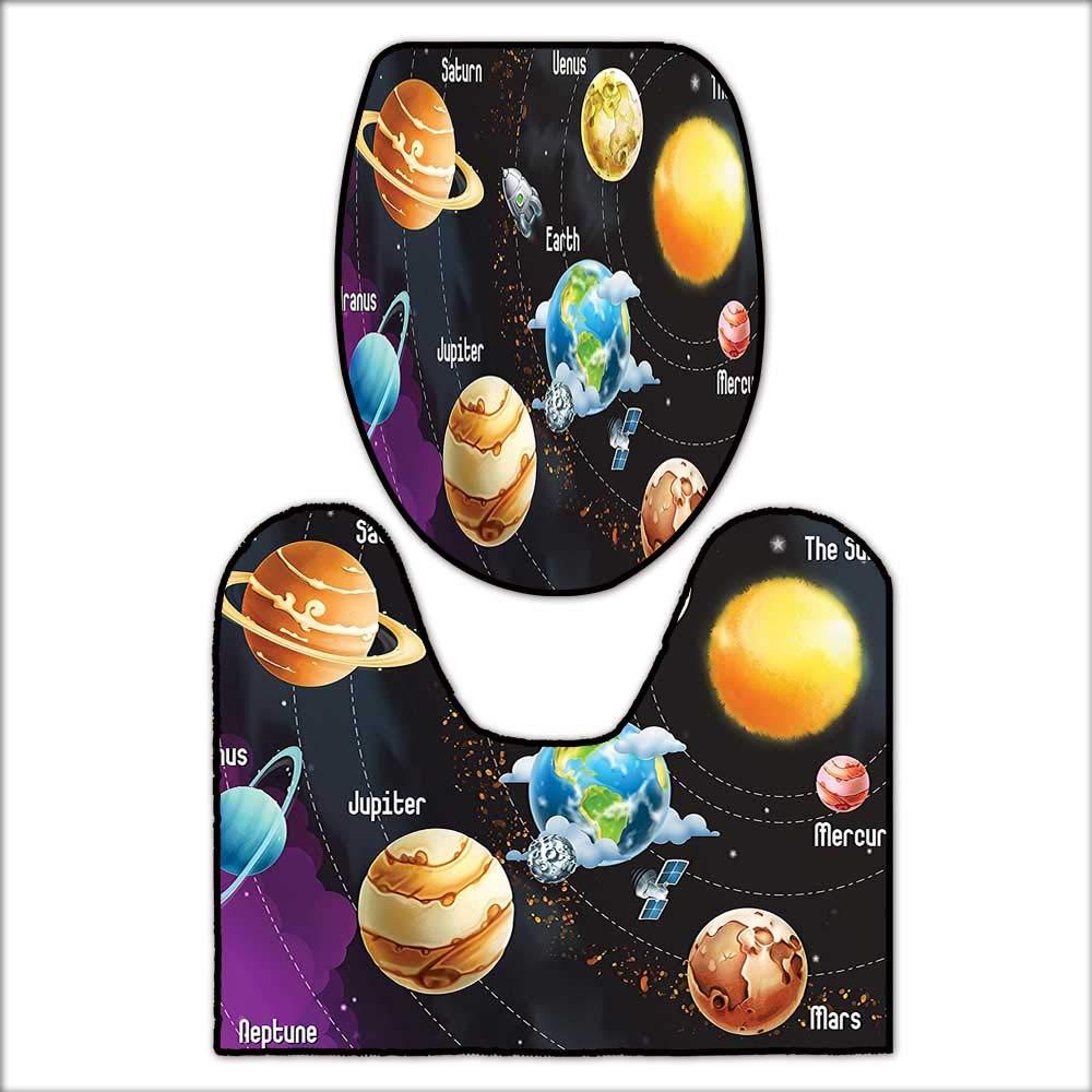 2 Piece Toilet mat Set Solar System of Planets Milk Way Neptune Venus Mercury Sphere Horizontal Illustration 2 Piece Shower Mat Set L17.32 x W15.35-W14.96 x H15.74